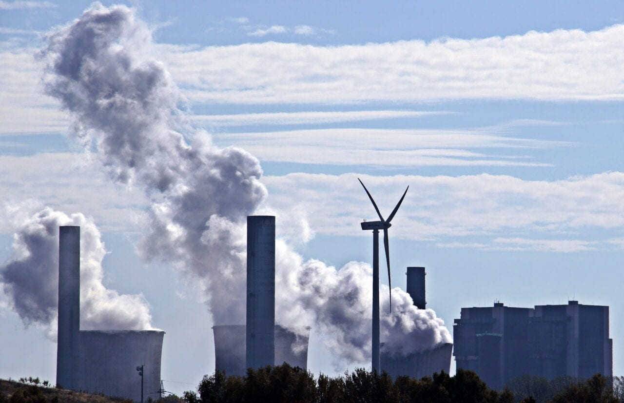 Coal Fired Power Plant with Wind Turbine
